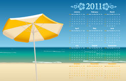 Vector calendar 2011 with tropic beach. Vector American calendar 2011 with tropic beach, starting from Sundays Royalty Free Stock Photos