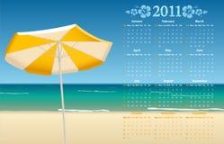 Vector Calendar 2011 With Tropic Beach Royalty Free Stock Photos