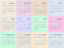 Vector calendar 2012. (week starts on Sunday stock illustration