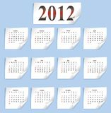 Vector calendar 2012. On white paper Royalty Free Illustration