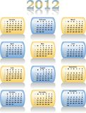 Vector calendar 2012. In blue and yellow color stock illustration