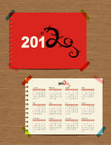 Vector calendar 2012, dragon symbol. For your design Stock Image