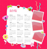 Vector calendar 2012 in girl scrapbook style. Pink dots Royalty Free Stock Image