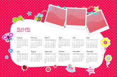 Vector calendar 2012 in girl scrapbook style. Pink Royalty Free Stock Photo