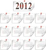 Vector calendar 2012 on white paper Royalty Free Stock Photo