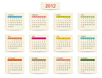 Vector calendar 2012 for your design Royalty Free Stock Photo