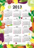 Vector calendar 2013. In colorful frame Royalty Free Stock Image