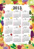 Vector calendar 2013. In colorful frame with fruits and vegetables Stock Photos