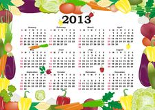 Vector calendar 2013. In colorful frame with vegetables stock illustration