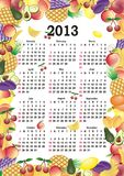 Vector calendar 2013. In colorful frame with fruits Stock Image