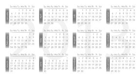 Vector calendar 2013. Gray and white Royalty Free Stock Photography
