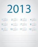 Vector calendar 2013 Stock Photography