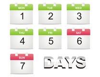 Vector calendar. White isolated vector calendar days Stock Photos