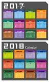 Vector 2017,2018 calendar Royalty Free Stock Photo
