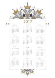 Vector, 2017 calendar all 12 month on white background decoratio. N with modern mandala design Stock Illustration