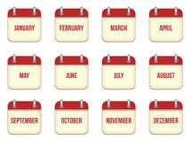 Vector calendar app icons Stock Photography