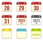 Vector calendar app icons. 28 to 31 days and blank Stock Photo