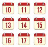 Vector calendar app icons. 10 to 18 days Stock Image
