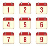 Vector calendar app icons. 1 to 9 days Royalty Free Stock Photos