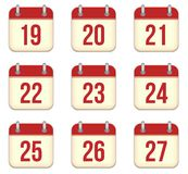 Vector calendar app icons. 19 to 27 days Stock Images