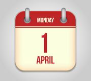 Vector calendar apps icon. 1 april fools day royalty free illustration