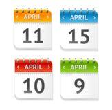 Vector Calendar April with Dates Set. Flat Design Royalty Free Stock Photography