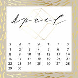 Vector calendar for April 2018. Hand drawn letters for calendar design Stock Photo