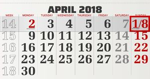 Vector calendar of april 2018 Royalty Free Stock Image