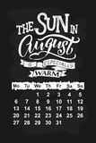 Vector calendar for August 2018. Hand drawn lettering quotes for calendar design Stock Photos