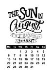 Vector calendar for August 2018. Hand drawn lettering quotes for calendar design Stock Photo