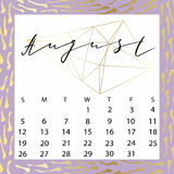 Vector calendar for August 2018. Royalty Free Stock Photography