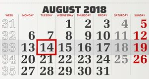 Vector calendar of august 2018 Royalty Free Stock Image