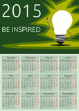 Vector calendar 2015, be inspired. Calendar 2015, be inspired text, light bulb character in moment of insight standing on green background, EPS vector Royalty Free Stock Photography
