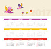 Vector Calendar 2017 with bird. Week Starts Sunday. Modern vector Calendar 2017 year with bird. Week Starts Sunday, eps 10 Stock Images