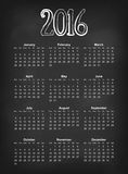 Vector 2016 calendar on black chalk board Europe calendar grid weeks starts on Monday royalty free illustration