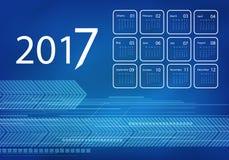 Vector calendar for 2017. 2017 vector calendar blue techno design. Elements for your work. Eps10 Stock Photos