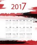Vector calendar for 2017. Bright grungy 2017 vector calendar design. Elements for your work. Eps10 Royalty Free Stock Photo