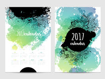 Vector calendar with brush stain. 2017. Year Vector Illustration