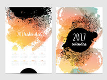 Vector calendar with brush stain. 2017. Year Stock Illustration