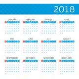 Vector calendar on 2018. stock illustration