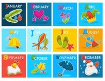 Vector calendar with cartoon seasonal symbols. Calendar months with seasonal holidays symbols. Vector winter Santa Claus and Christmas tree, Valentine day heart Stock Photography