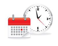 Vector calendar with a clock. Vector illustration of calendar clock icon on white background Stock Illustration