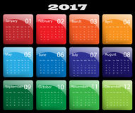 Vector calendar for 2017. Colorful 2017 vector calendar design. Elements for your work. Eps10 Stock Photo