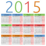 Vector calendar 2015, colors for seasons Stock Photo