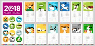 Vector 2018 calendar. A vector 2018 complete Calendar illustrated with cute cartoon dogs with brilliant colors, with reference to the 2018 year of the dog in Royalty Free Stock Photo