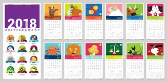 2018 vector calendar. A vector 2018 complete Calendar illustrated with cute cartoon zodiac signs and brilliant colors Stock Photography