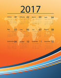 Vector calendar for 2017. Corporate bright 2017 vector calendar design with world map. Elements for your work. Eps10 Royalty Free Stock Image