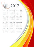 Vector calendar for 2017. 2017 vector corporate calendar design with globe and bright lines. Elements for your work. Eps10 Royalty Free Stock Images