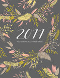 Vector calendar cover. Elegant floral 2017 calendar cover. Flowers collection Royalty Free Stock Images