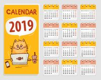 Vector Calendar 2019 with cute cat. All Elements Are In Separate Layers And Grouped, Easy To Edit vector illustration